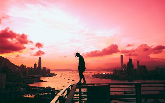 Wallpaper City, sunset, sea, man, fence