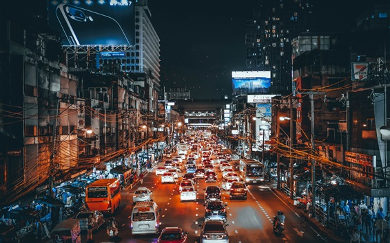 City, traffic, cars, lights, night, street, art style Wallpaper Preview