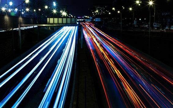 Fondos de pantalla Tráfico de ciudad, luces coloridas, noche
