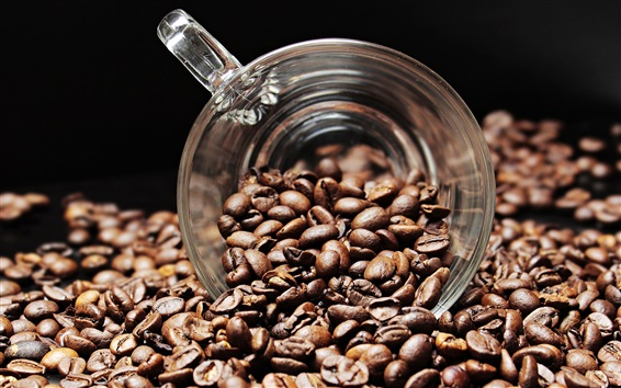 Wallpaper Coffee beans, glass cup