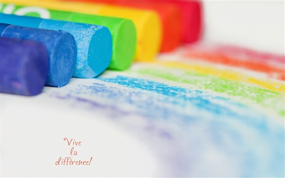 Wallpaper Colorful chalks, paper