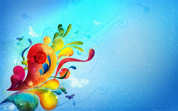 Wallpaper Colorful drops, blue background, creative abstract