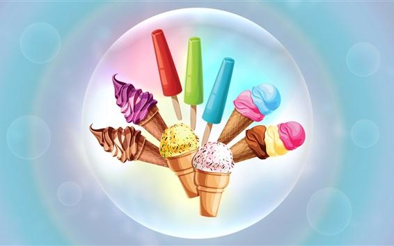 Wallpaper Colorful ice creams, art drawing