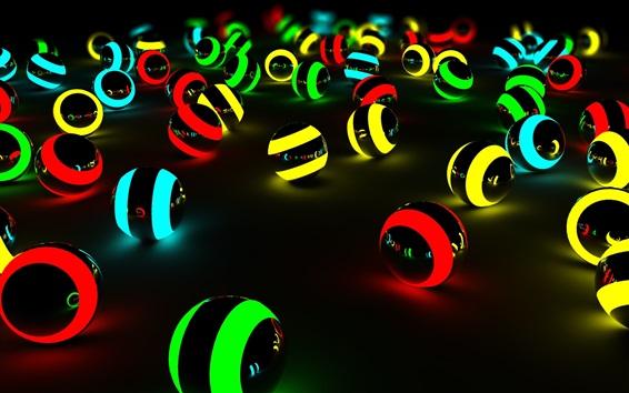 Papéis de Parede Bolas de luz colorida, fundo preto