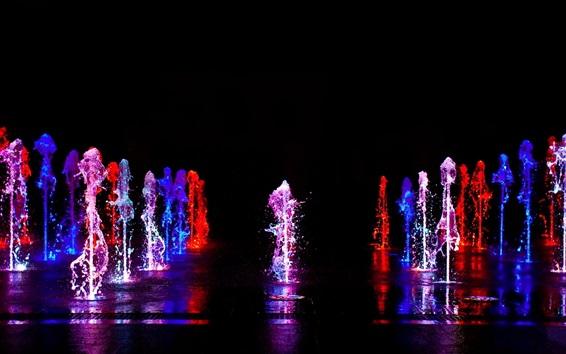 배경 화면 다채로운 빛, 물 액체 스플래시, 분수, 밤