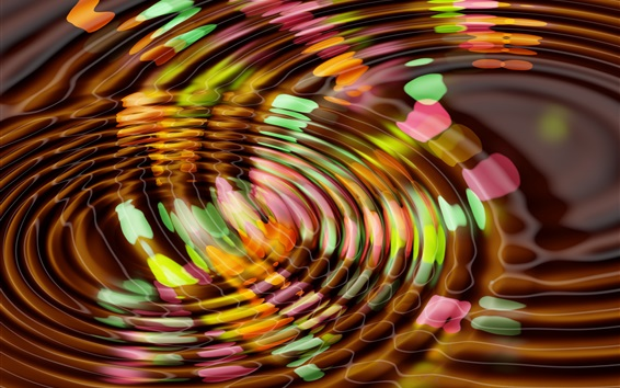 Wallpaper Colorful water surface circles, waves, abstract