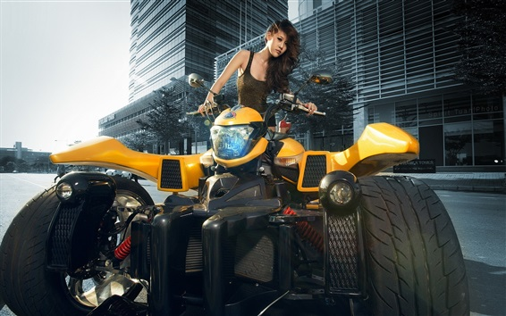 Wallpaper Cool motorcycle, Asian girl