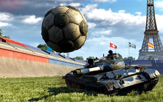 Wallpaper Creative picture, football, tank, grass, Eiffel Tower