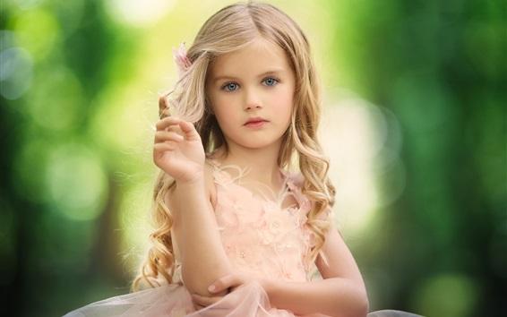 Wallpaper Curls hair, blonde, child girl, lovely