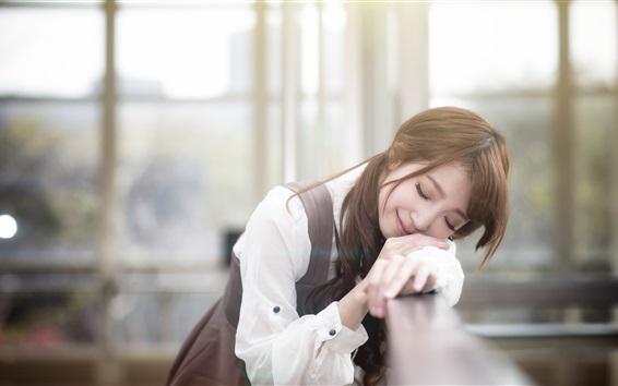 Wallpaper Cute Asian girl sleep in dream