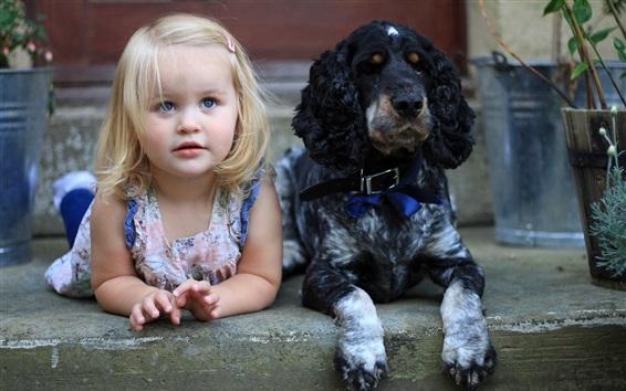 Wallpaper Cute little girl and dog, friends