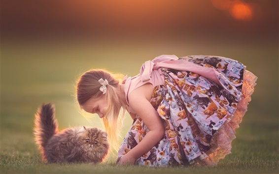 Fond d'écran Petite fille mignonne joue avec son chat