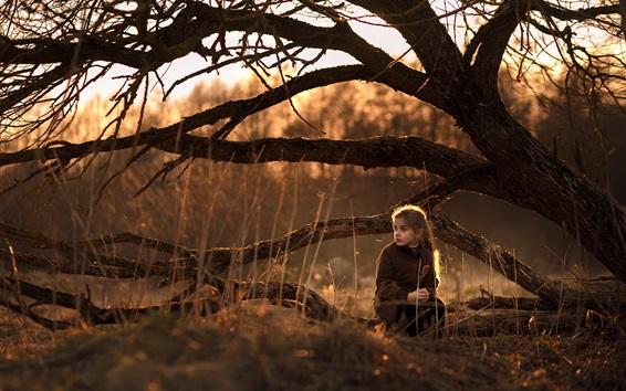 Wallpaper Cute little girl sit on ground, nature, trees, sunshine