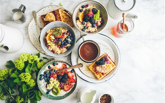 Wallpaper Delicious breakfast, fruit salad, coffee