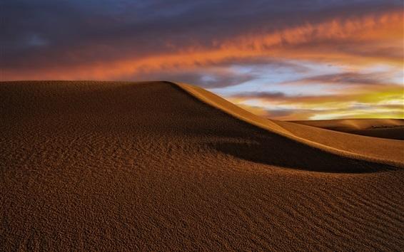 Wallpaper Desert, dunes, clouds, dusk