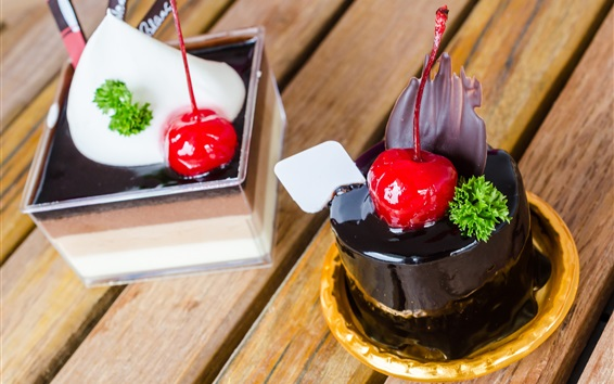 Wallpaper Dessert, chocolate cake, cherry, sweetness food