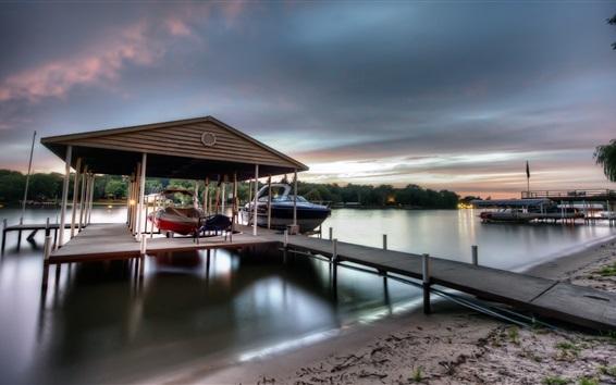 Wallpaper Dock, river, boats, dusk