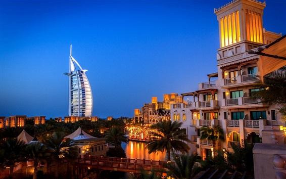 Papéis de Parede Dubai, noite da cidade, villa, luzes