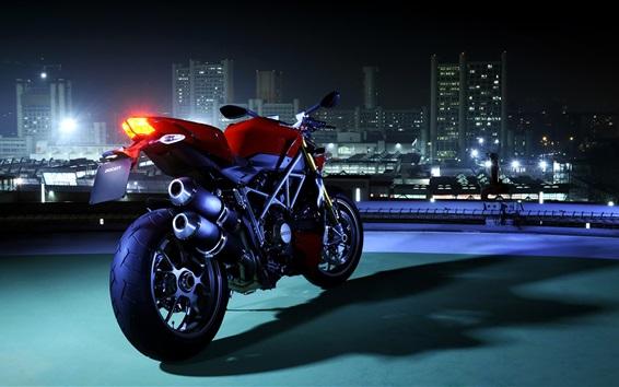 Wallpaper Ducati motorcycle, rear view, night, city