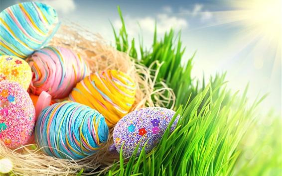 Fond d'écran Pâques, oeufs colorés, herbe, soleil