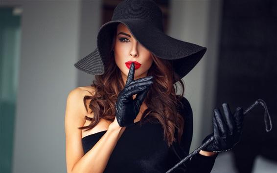 Обои Элегантная девушка, перчатки, макияж, шапка