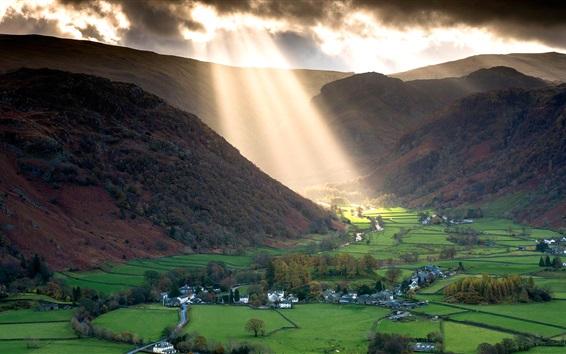 Wallpaper England, valley, village, fields, mountains, sun rays
