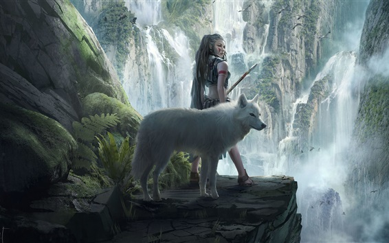 Wallpaper Fantasy girl and wolf, mountains, waterfalls