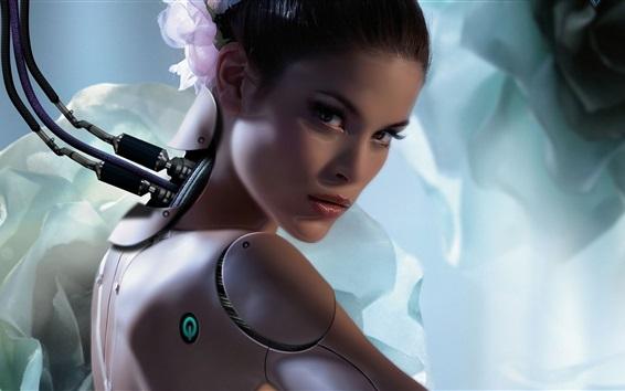 Обои Фантазия девушка, робот