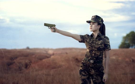 Wallpaper Female soldier, Asian girl, use gun, camouflage