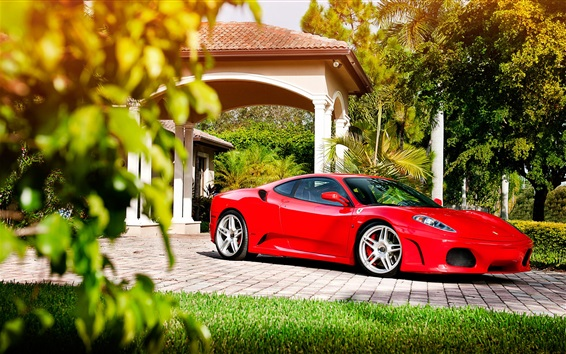 Wallpaper Ferrari red supercar side view, trees, sunshine