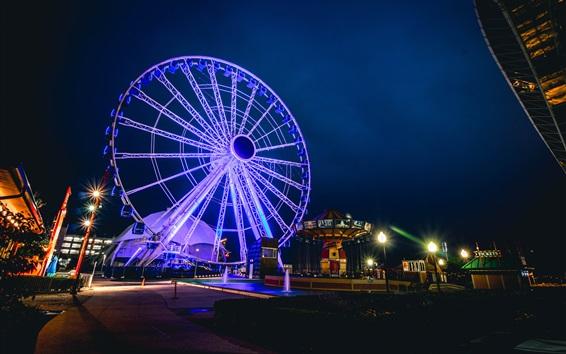 Wallpaper Ferris wheel, lights, city, street, night