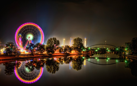 Wallpaper Ferris wheel, river, bridge, city, night, lights