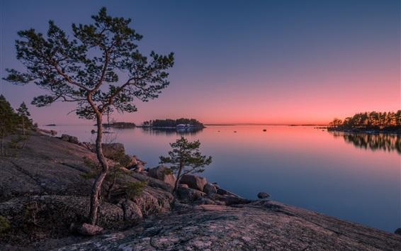 Fondos de pantalla Finlandia, Golfo de Finlandia, isla, árboles, mar, puesta de sol
