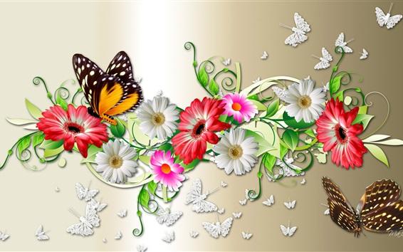 Обои Цветы и бабочка, креативный дизайн