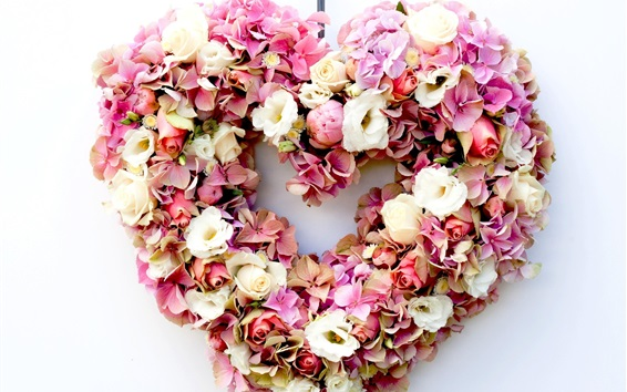 Wallpaper Flowers heart, hydrangea and rose