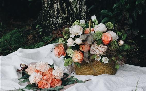 Papéis de Parede Flores, cesta