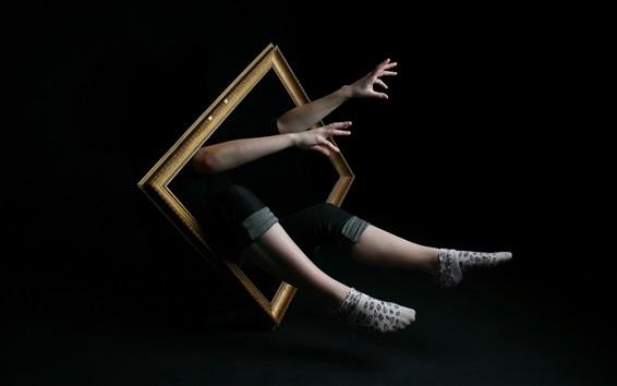 壁紙 フレーム、人間の手と脚、黒背景、創造的