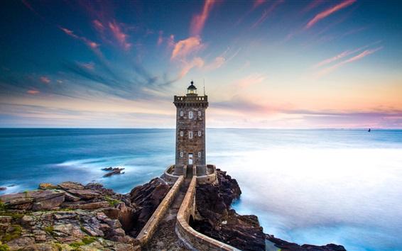 Wallpaper France, Kermorvan Lighthouse, sea, coast, dusk