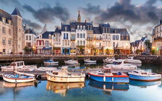 Wallpaper France, Le Croisic, boats, pier, city, houses, lights