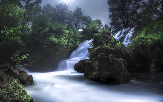 Wallpaper France, Navacelles, waterfall, trees, sun
