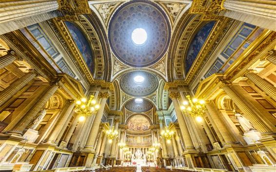 Wallpaper France, Paris, bench, Church of Mary Magdalene, interior