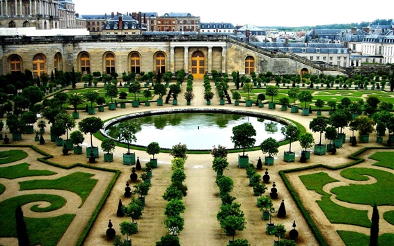 Wallpaper France, Versailles, garden, buildings, trees, pond