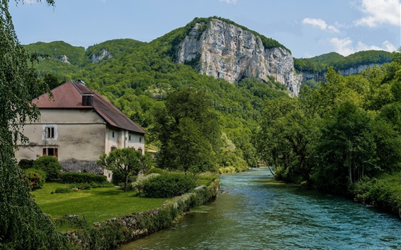 Wallpaper France, house, trees, greens, mountains, river