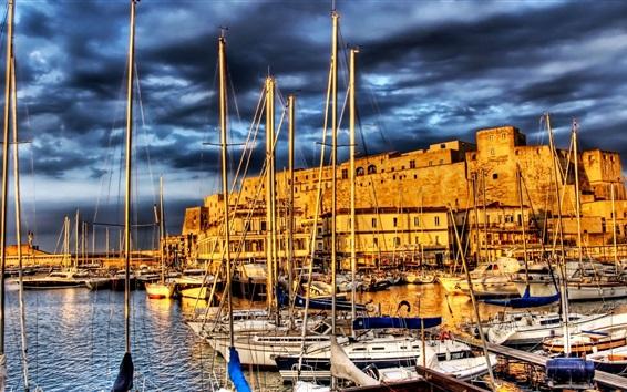 Обои Франция, второстепенный пирс, лодки, река, дома, облака, HDR стиль