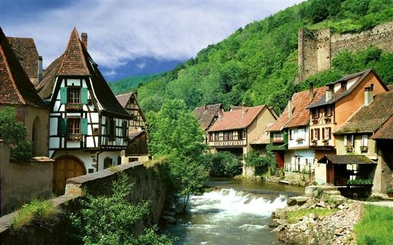 Wallpaper France, river, houses, trees, stones, summer