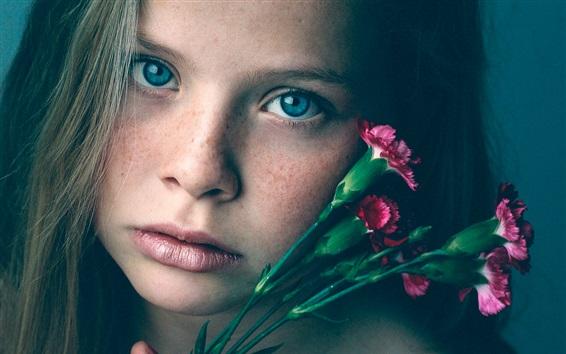 Wallpaper Freckles girl, face, purple carnations
