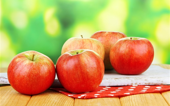 Wallpaper Fresh red apples, fruit photography, green background