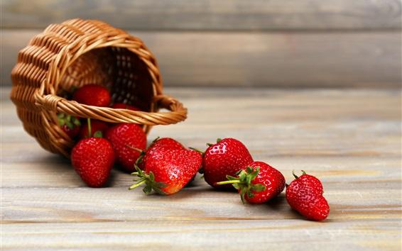 Wallpaper Fresh strawberry, basket, wood board