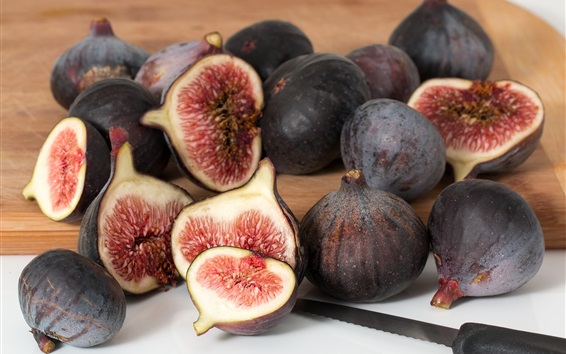 Wallpaper Fruit figs close-up, cutting