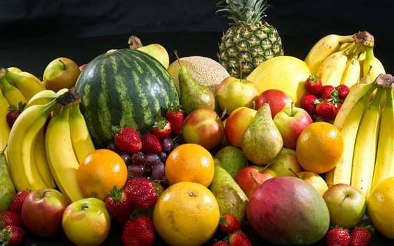 Fond d'écran Photographie de fruits, banane, pomme, fraise, orange, melon